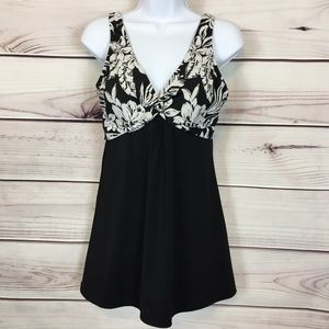 Tropical Escape 12 Black White Floral Swim Dress